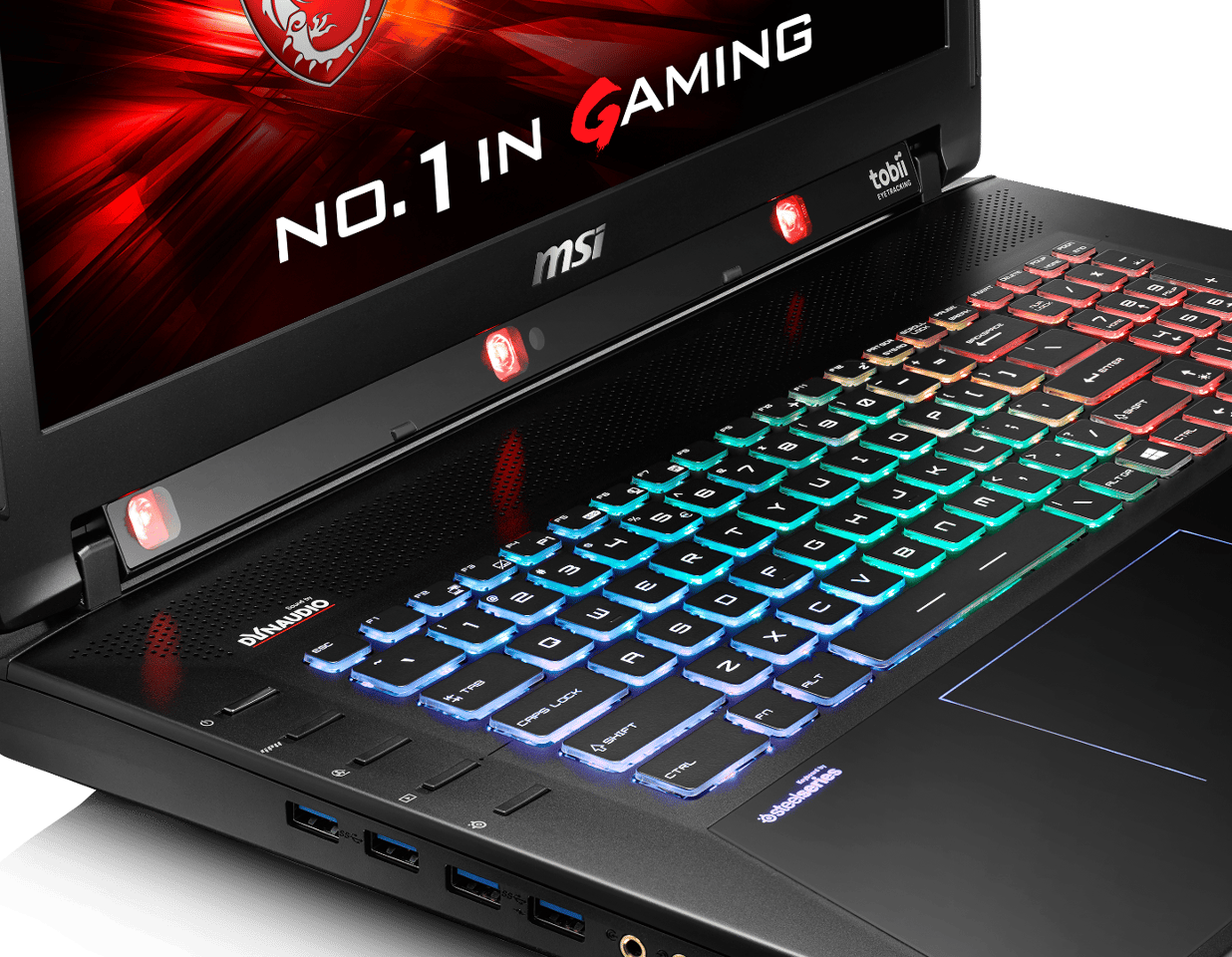 The MSI GT72S G Tobii also features a full-color backlit SteelSeries keyboard for quick response and tactile feedback