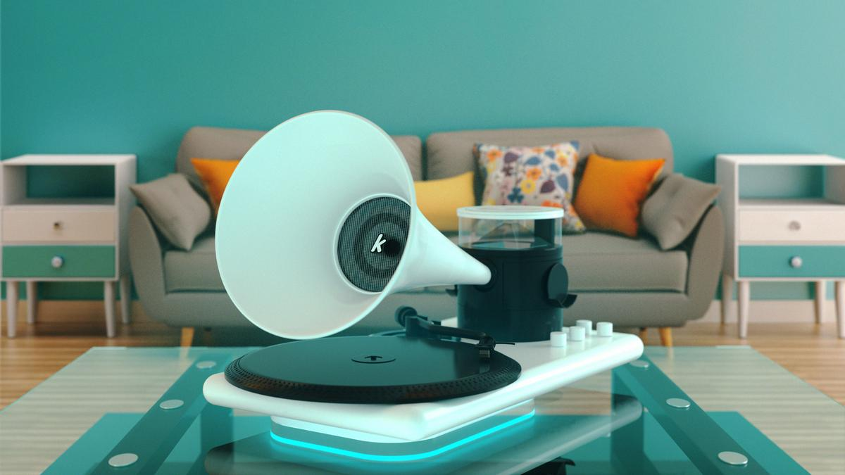 The retro-coolKozmophone packs in lots of modern tech, including wireless phone charging, a detachableBluetooth speaker and holographic animations