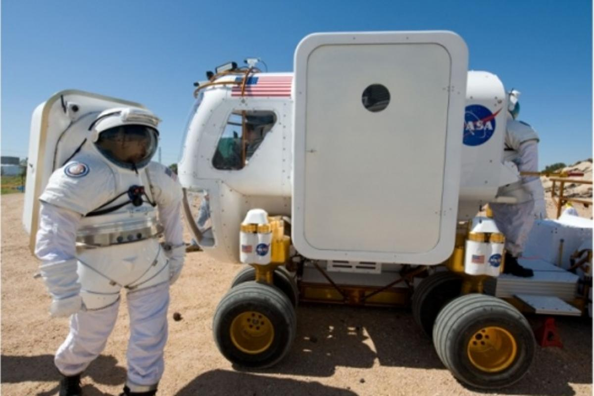 The self-contained module of the rover allows crew to discard their spacesuits while inside.Image: NASA