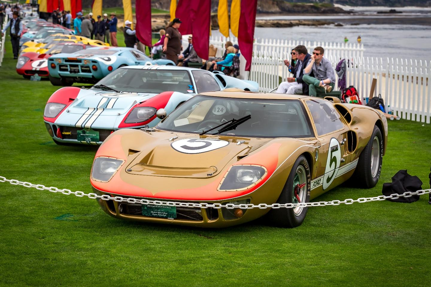 19 legendary Ford GT40s graced the lawn at the 2016 Pebble Beach Concours d'Elegance