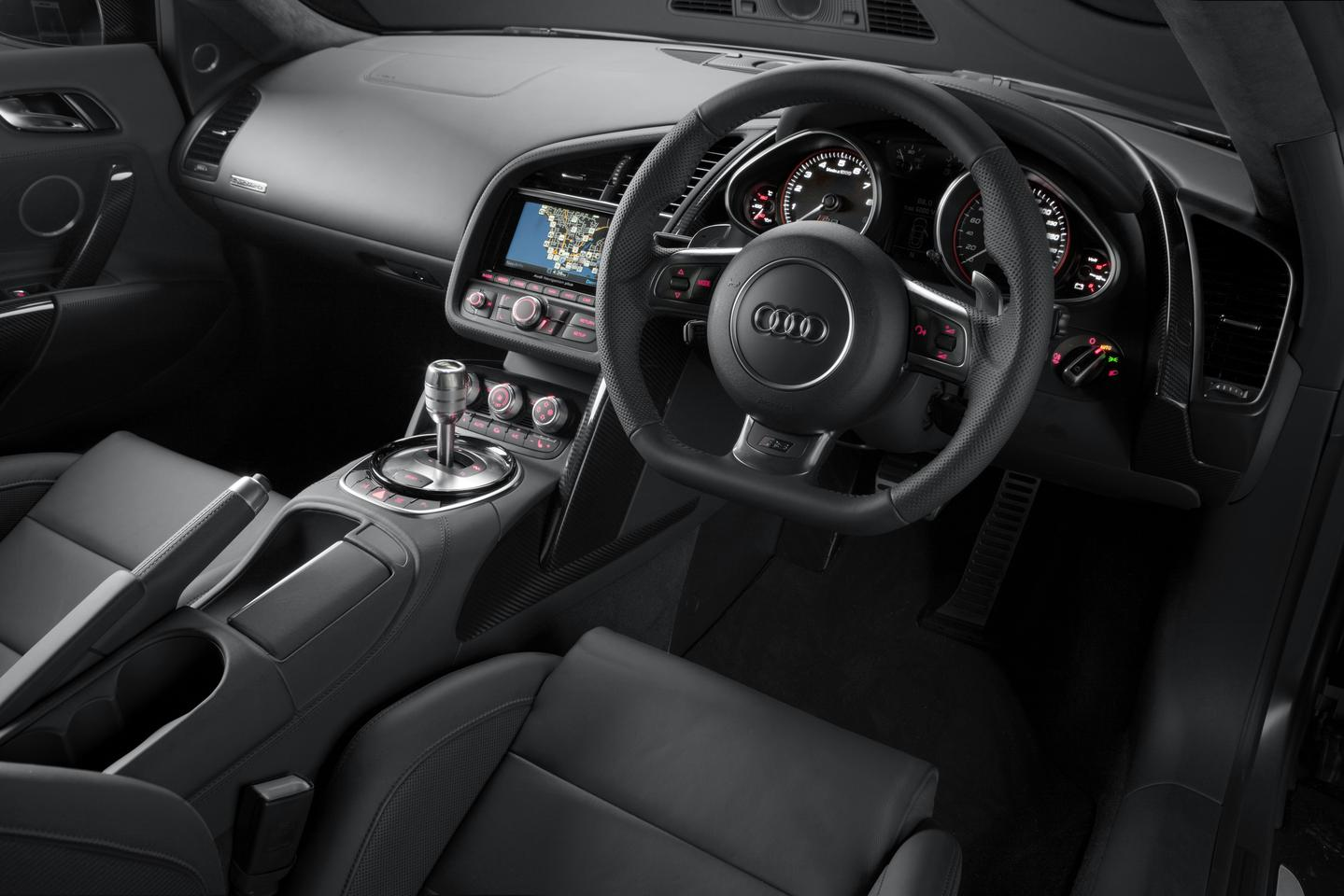The interior of the Audi R8 V10 plus