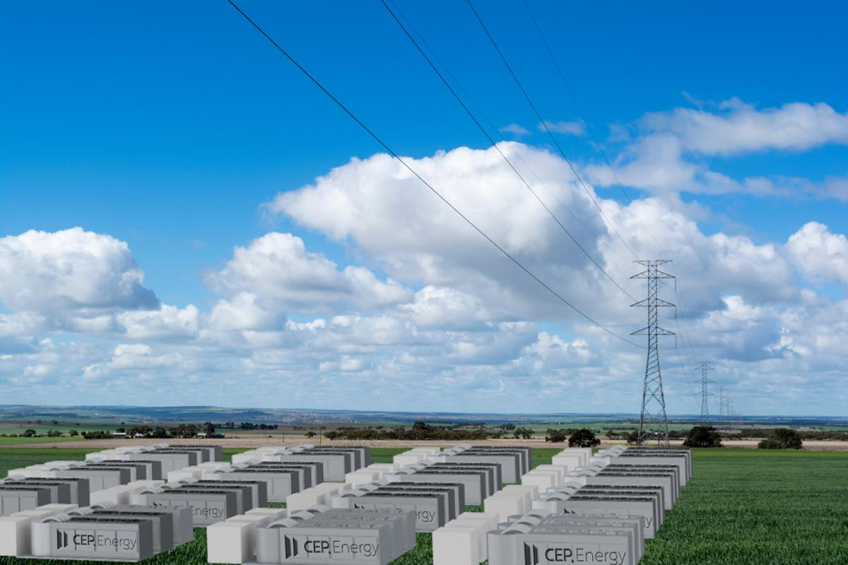 A crude mockup of the 1.2-gigawatt power grid battery planned for Australia's Hunter Valley