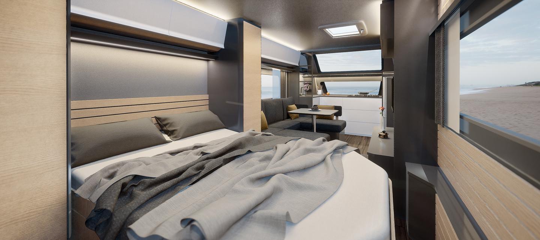 Die Maxia enthält einen offenen Grundriss mit einem hinteren Hauptbett / Badewanne