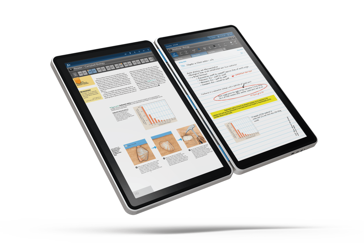 The Kno will feature two connected 14.1 inch 1440 x 900 anti-glare capacitive touchscreen displays connected via a flexible hinge