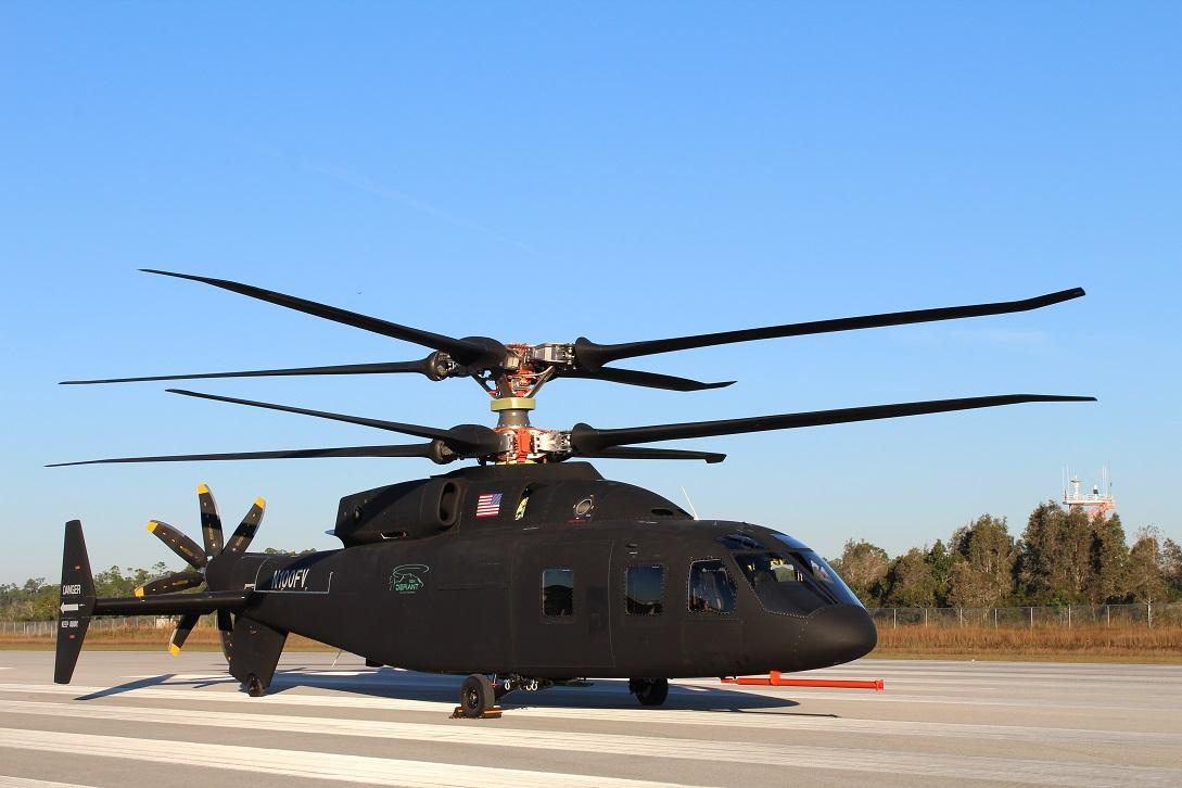 With counter-rotating blades at the top, the SB>1 Defiant blasts through the helicopter speed limit imposed by retreating blade stall on single-rotor helicopters