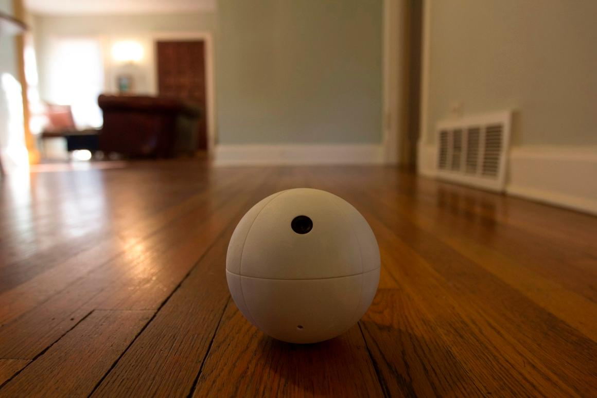 The SensorSphere is a Wi-Fi-connected robotic ball that is able to roll around by shifting its center of gravity