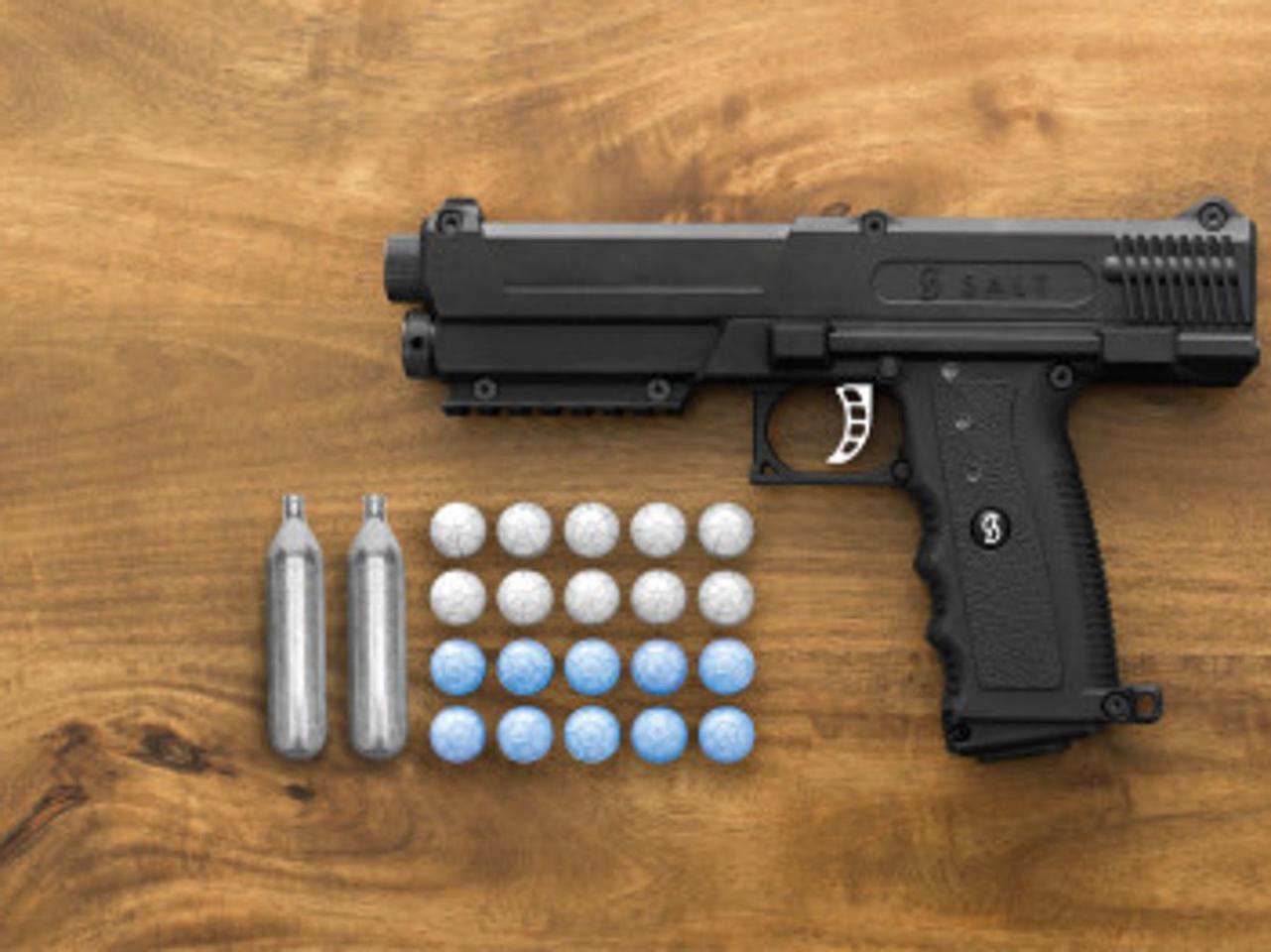 The Salt Gun fires incapacitating powder pellets instead of bullets
