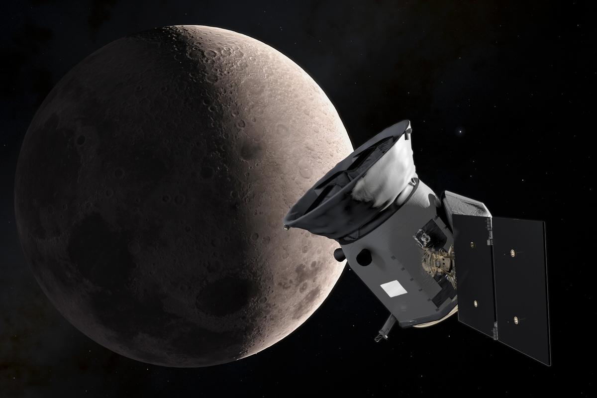 An illustration of TESS as it passed the Moon during its lunar flyby