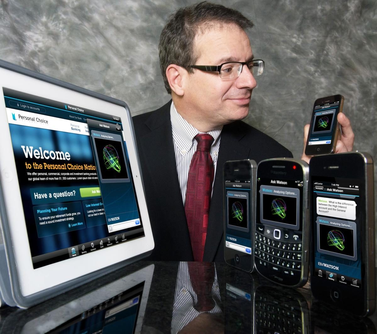 IBM Watson Solutions VP Stephen Gold interacts with the new IBM Watson Engagement Advisor