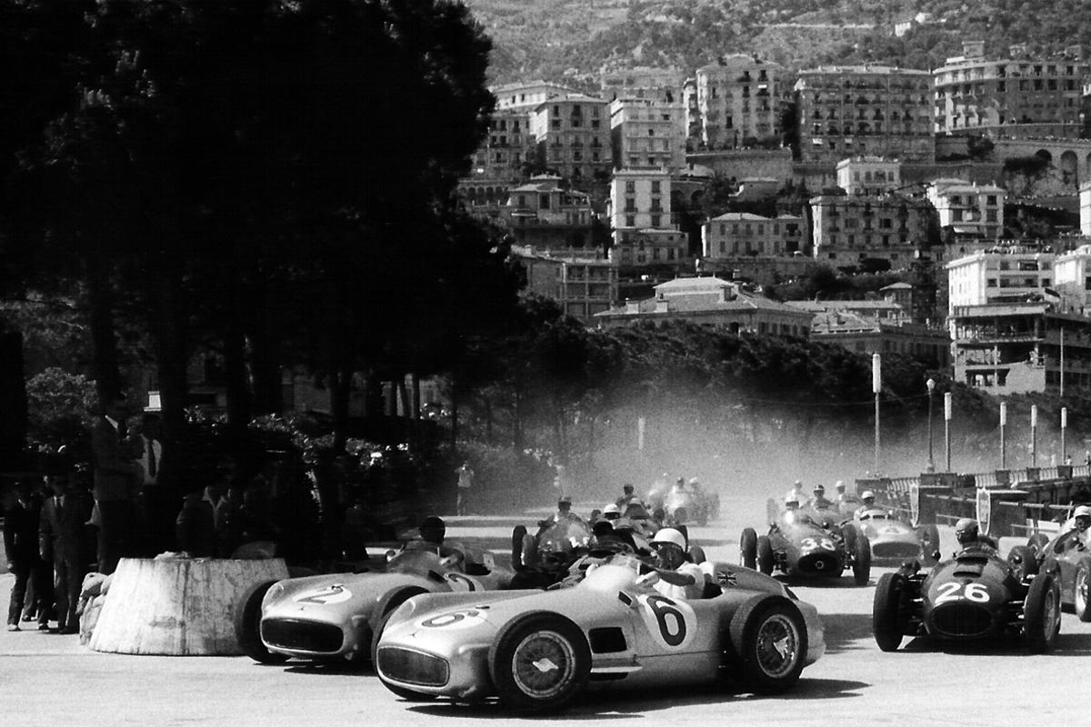 Fangio was easily the highest ranked driver on street circuits, with Ayrton Senna, Fernando Alonso, Alain Prost and Jackie Stewart all closely scored but in that order as the best ever when there is no margin for driver error. Fangio is seen here on the inside of Sir Sterling Moss during the first lap of the 1955 Monaco Grand Prix. Fangio's gearbox broke at half distance with him heading the Mercedes pair running 1-2, gifting Moss a lead of almost a full lap, but soon after, Moss' W196 engine also broke, and in a race of attrition, it was the Ferrari of Maurice Trintignant which took the win.