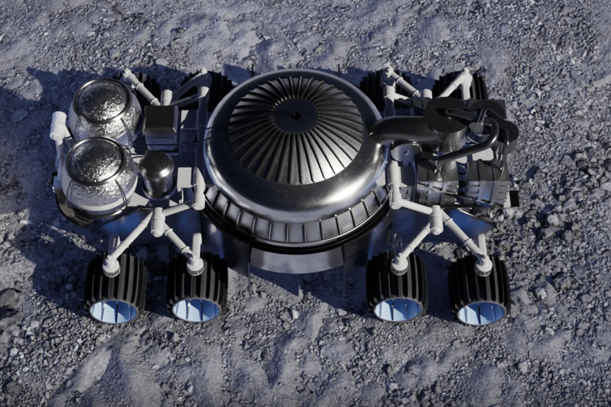 The mining rover with its cover removed to show its pressure dome and support systems