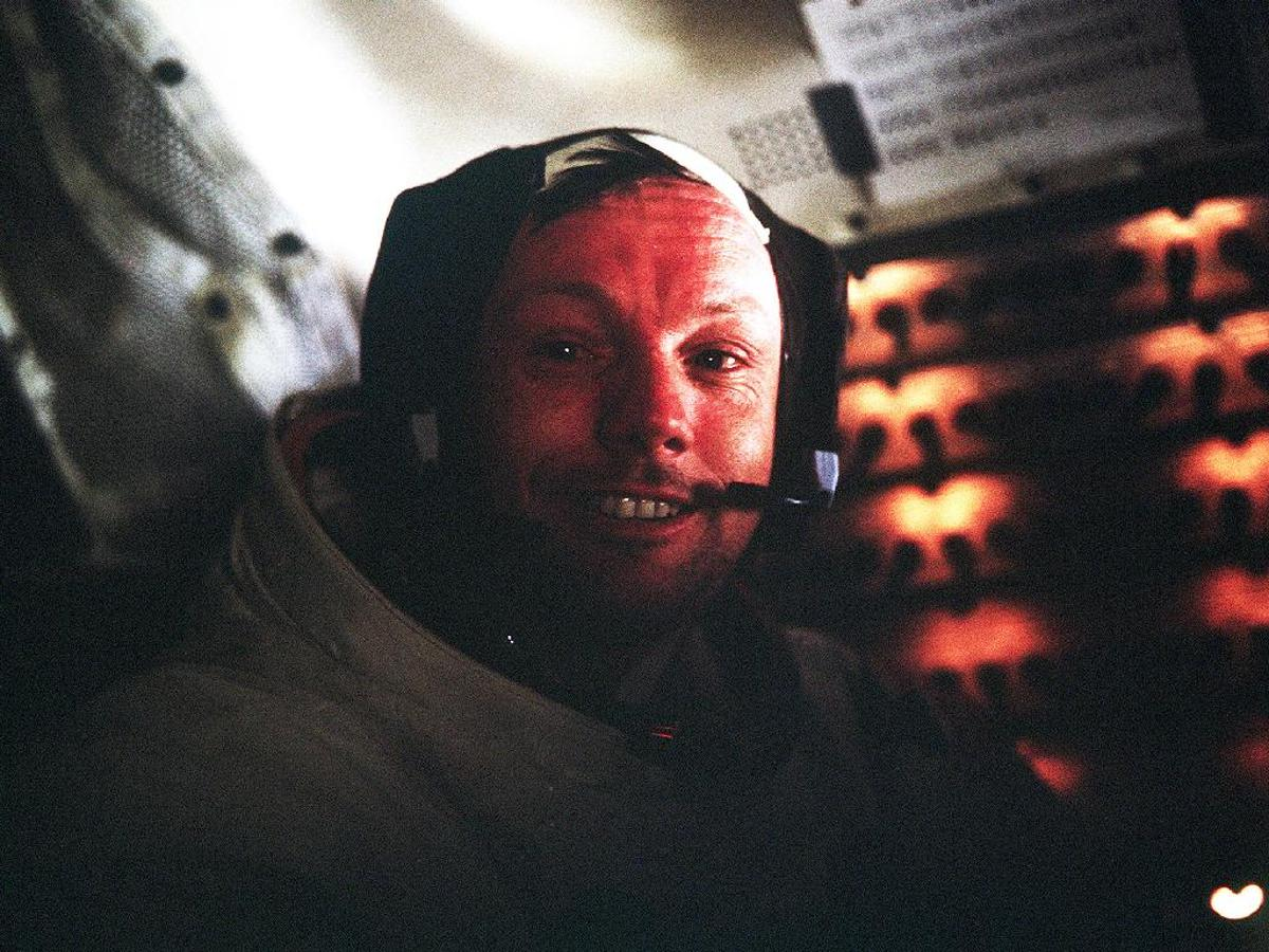 Astronaut Neil A. Armstrong, Apollo 11 Commander, inside the Lunar Module as it rests on the lunar surface after completion of his historic moonwalk (Photo: NASA)
