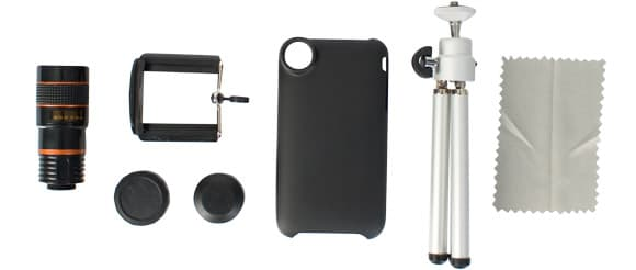 The Eye Scope accessories include a tripod, phone cover and mounting clamp (Photo: Firebox)