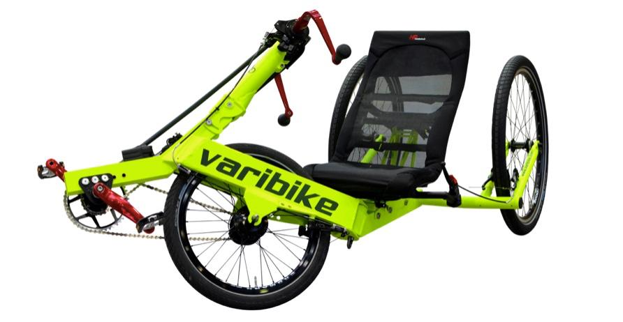 The Varibike Trike can be powered by the arms, legs, or both