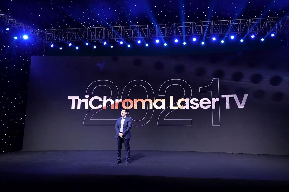 Dr. Xianrong Liu, chief scientist at Hisense Laser TV, talks up a new TriChroma Laser TV era for 2021 at the company's online CES launch event