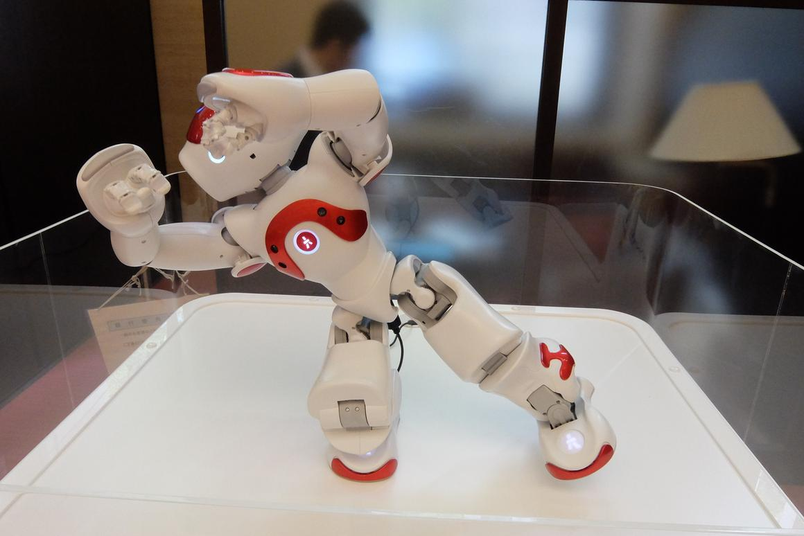 Standing just 58 cm (23 in) high, NAO was given a plinth to put him on eye level with the costumers he greeted (Photo: Stephen Clemenger/Gizmag.com)
