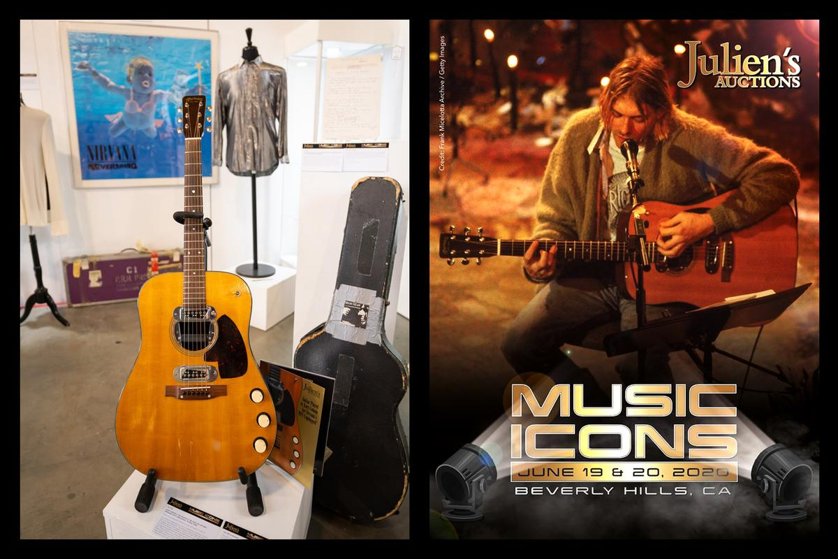 "Kurt Cobain's ""MTV Unplugged"" Martin guitar sold for $6,000,010 at Julien's Auctions in Hollywood on June 20, 2020, becoming the most expensive guitar ever sold"
