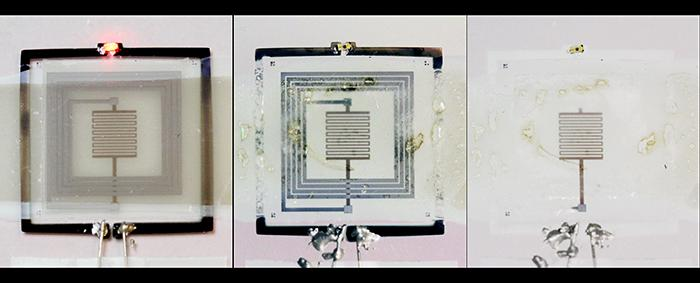 Now you see it, now you don't – a transient electronic device dissolves completely after the heating element in the center is remotely activated by a radio-frequency signal