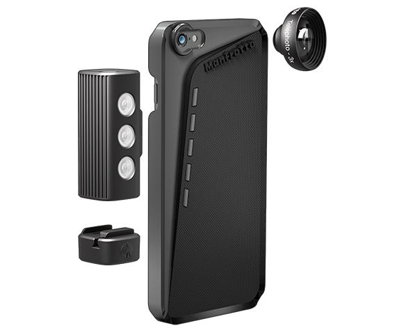 The Manfrotto Klyp+ case for iPhone 6 and 6 Plus can be used with lenses, an LED light, and a kickstand/tripod mount