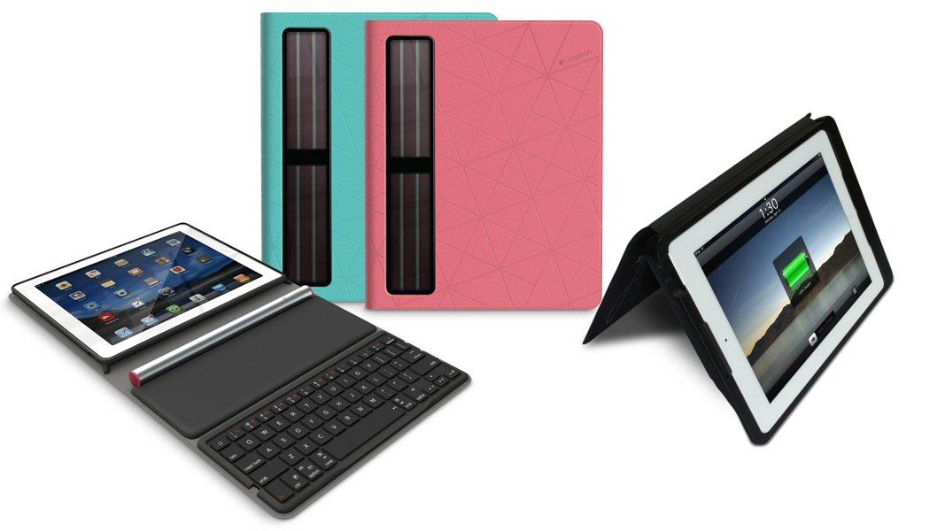 Logitech has unveiled a new iPad case with built-in keyboard that's powered by batteries charged via PV panels, and Wireless NRG has released a protective case which also uses light to significantly extend the battery life of the enclosed iPad