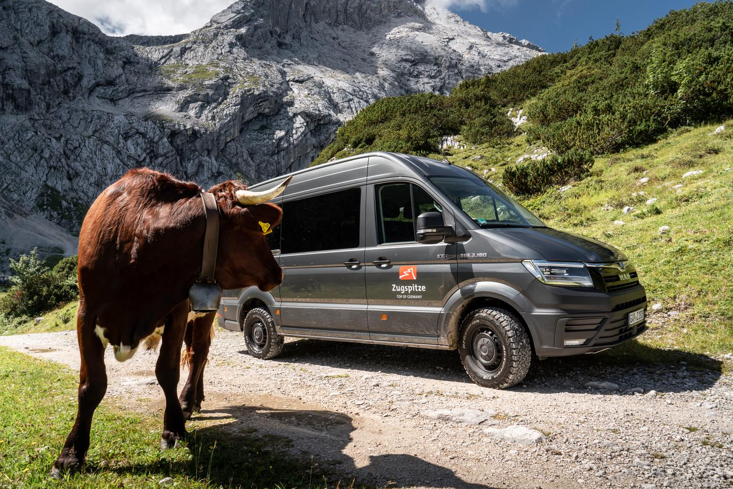 MAN imagines the tracked TGE 3.180 4x4 combi transporting goods to alpine pastures in winter, which looks like what this BZB van might be doing in the warmer, drier months