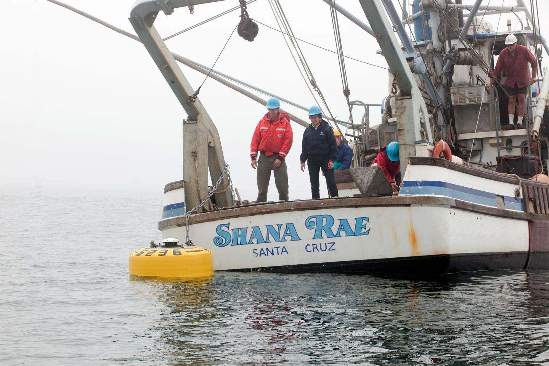 Static buoy being deployed (Photo: Stanford University, Kip Evans)