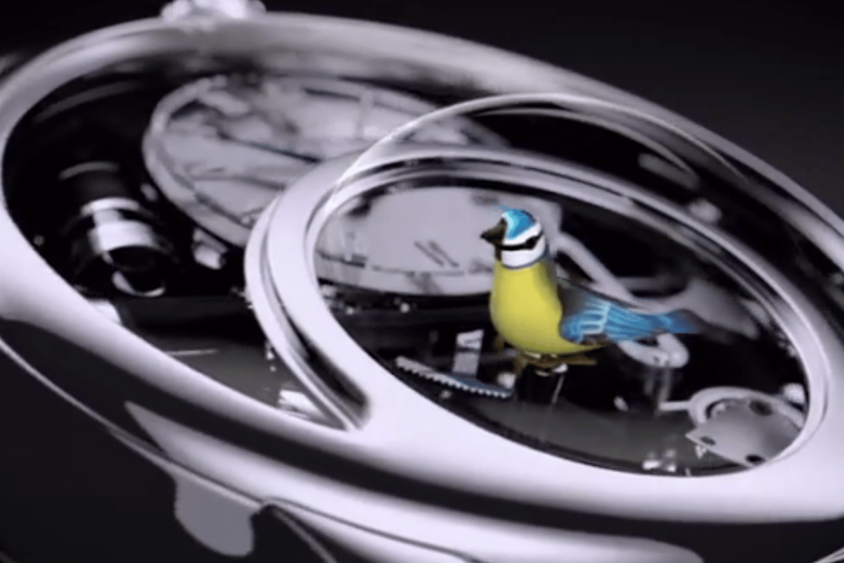 The Charming Bird contains a tiny mechanical bird behind the crystal