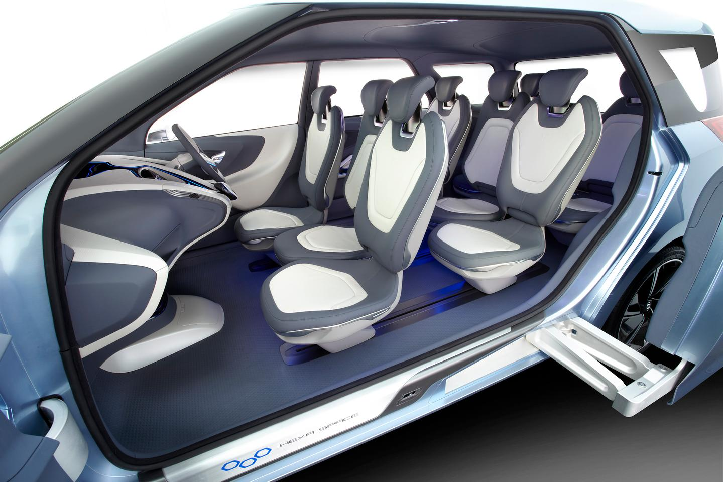 The Hexa Space concept's honeycomb-like seating layout