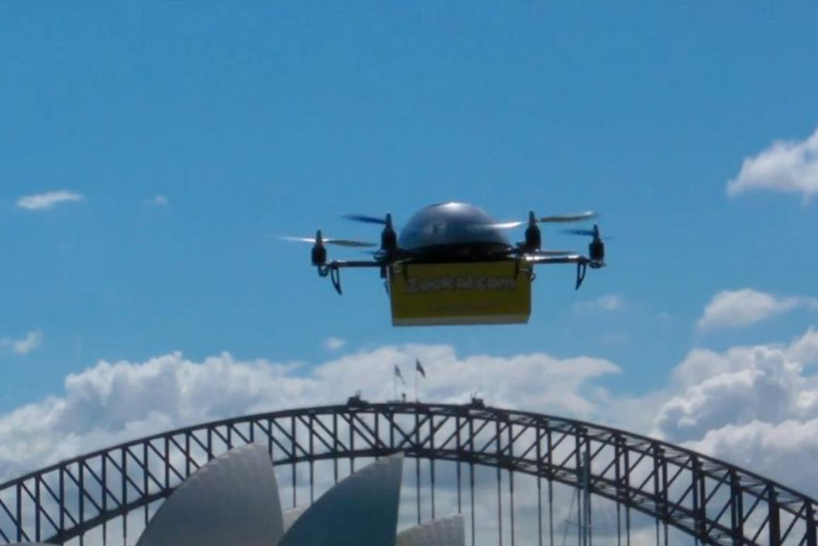 A Flirtey UAV near the Sydney Opera House