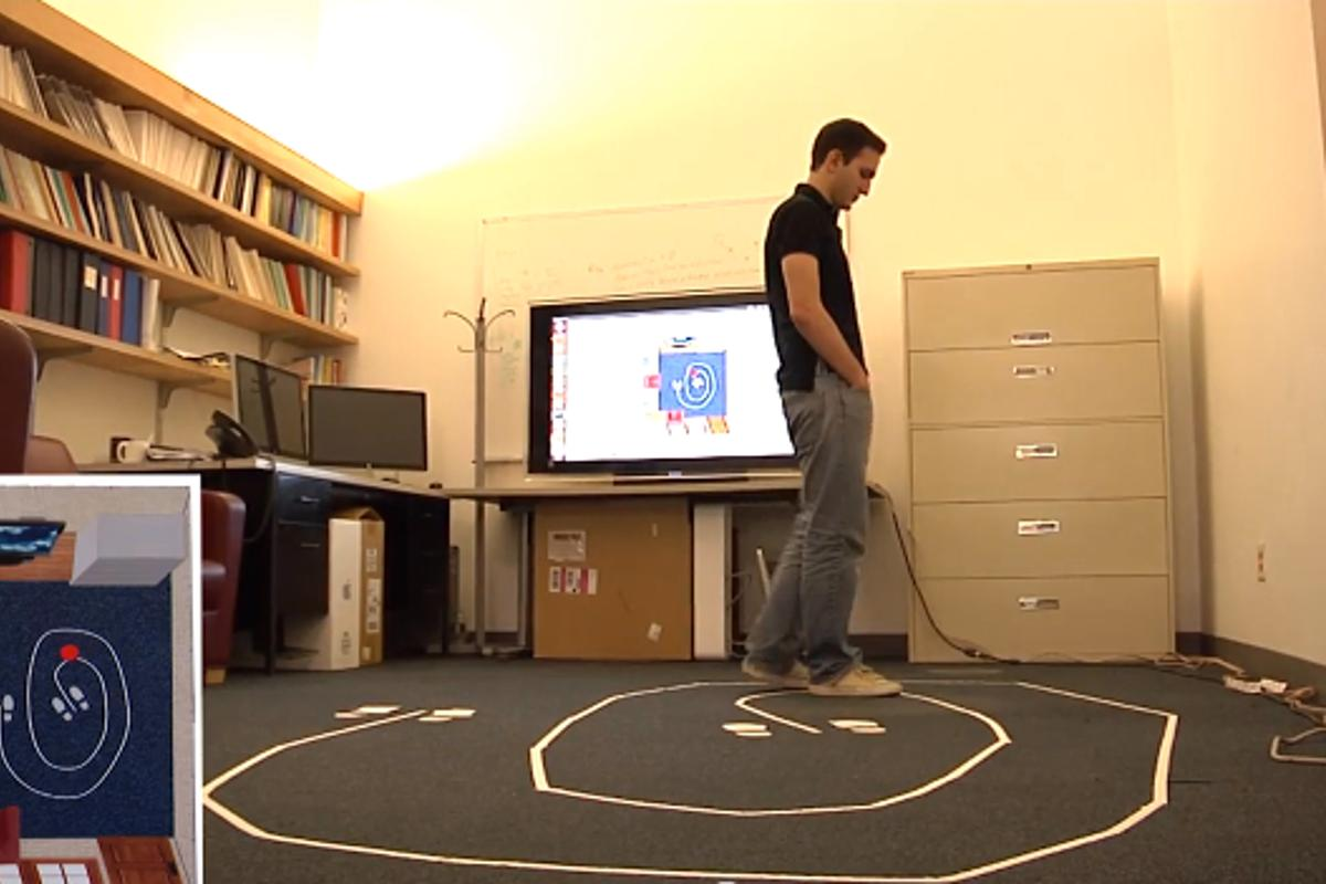 A subject's position is tracked by a WiTrack system (screen at lower left) located in another room