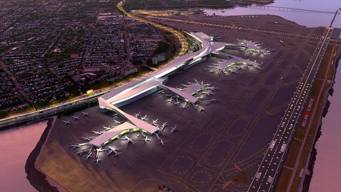 The redesign will do away with the existing airport's three-terminal layout in favor of a large new unified terminal