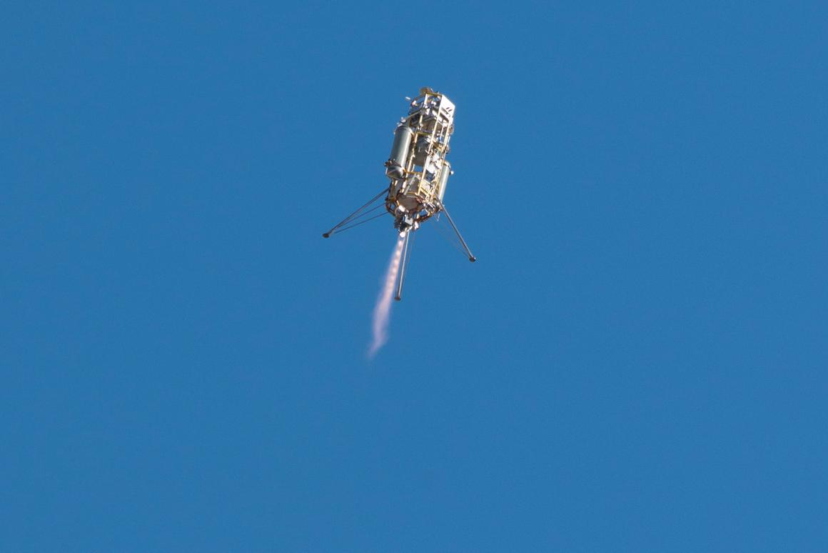 The ADAPT vehicle flew to an altitude of 1,066 ft before descending using LVS and G-FOLD landing technologies (Photo: NASA)