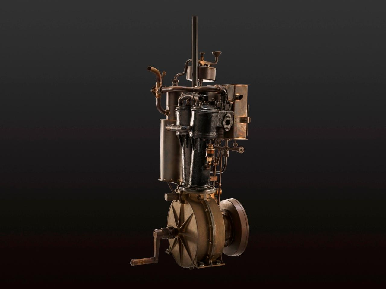 Daimler two-cylinder V-engine from 1889. These engines powered the winning vehicles in the first car competition in history 125 years ago
