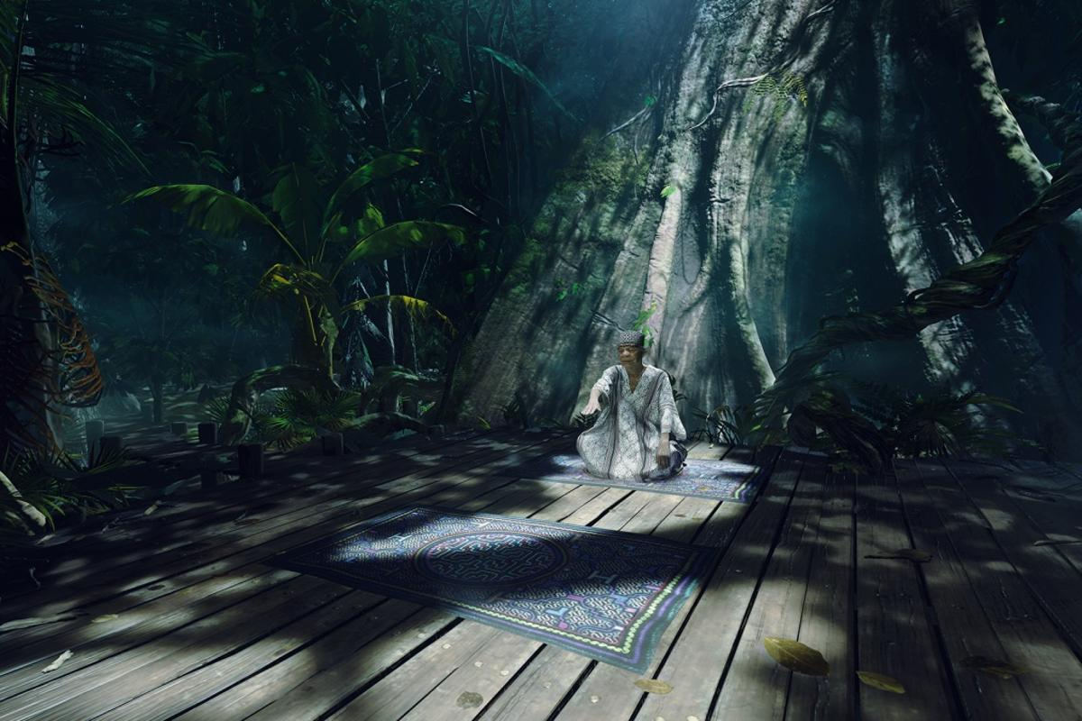The VR experience begins with the participant sitting on a rug, deep in the Amazon jungle, in front of an old, stereotypical shaman