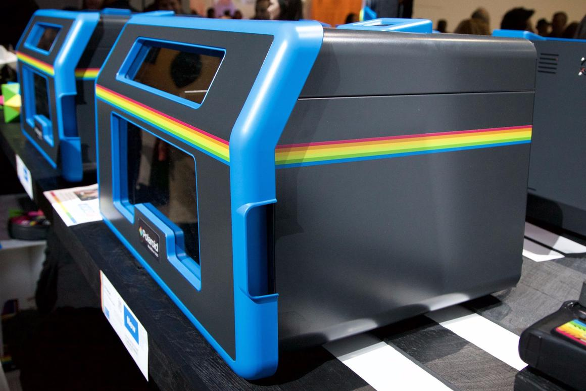 Polaroid's ModelSmart 250S 3D printers lined up at CES 2016