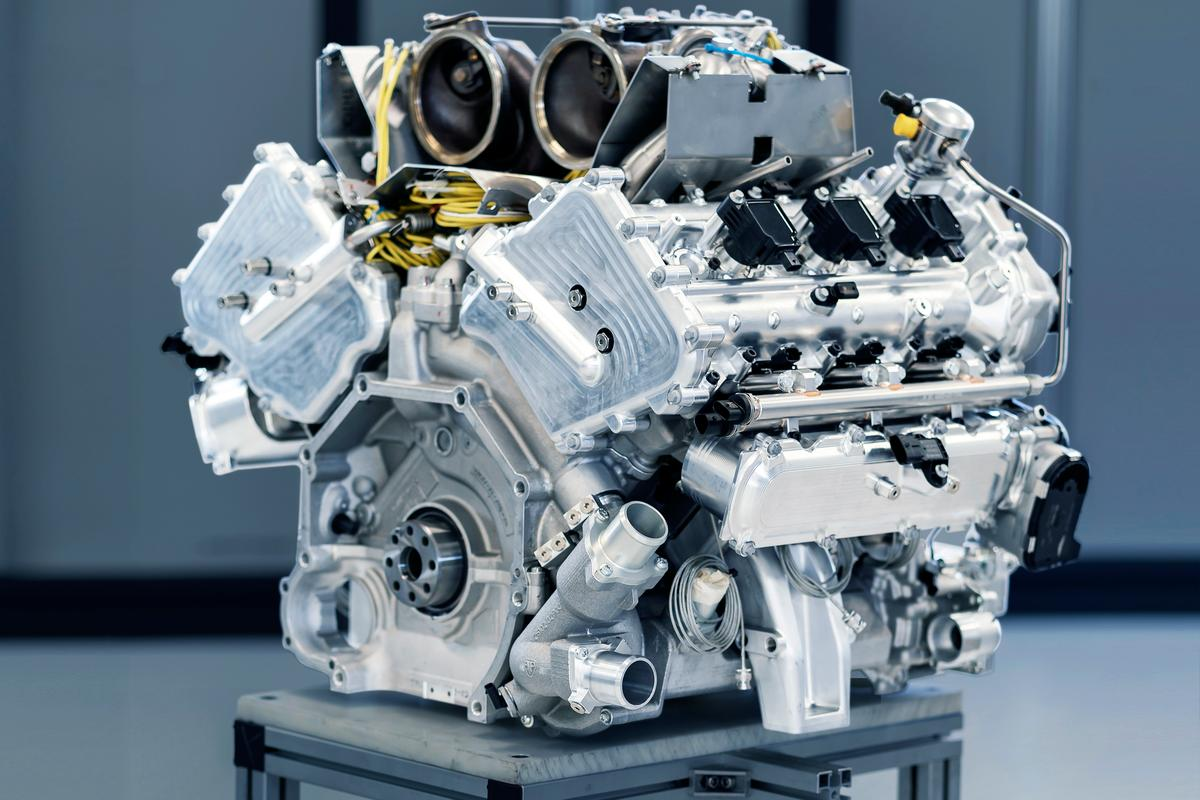 "The 3.0-liter ""hot V"" V6 engine from the upcoming Aston Martin Valhalla, with its two center-mounted turbos"