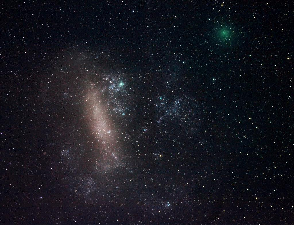 Comet 252P/LlNEAR (top right) poses next to the Large Magellanic Cloud