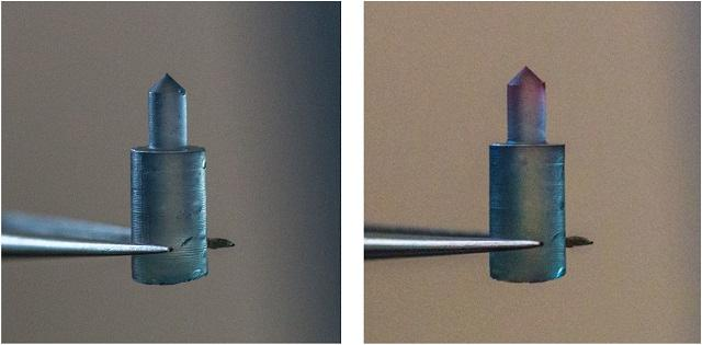 A silk fibroin pin changes color from blue to red when the force applied reaches the material's yield point