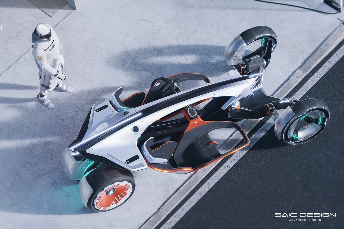 The RYZR looks like a high-fashion moon buggy from above