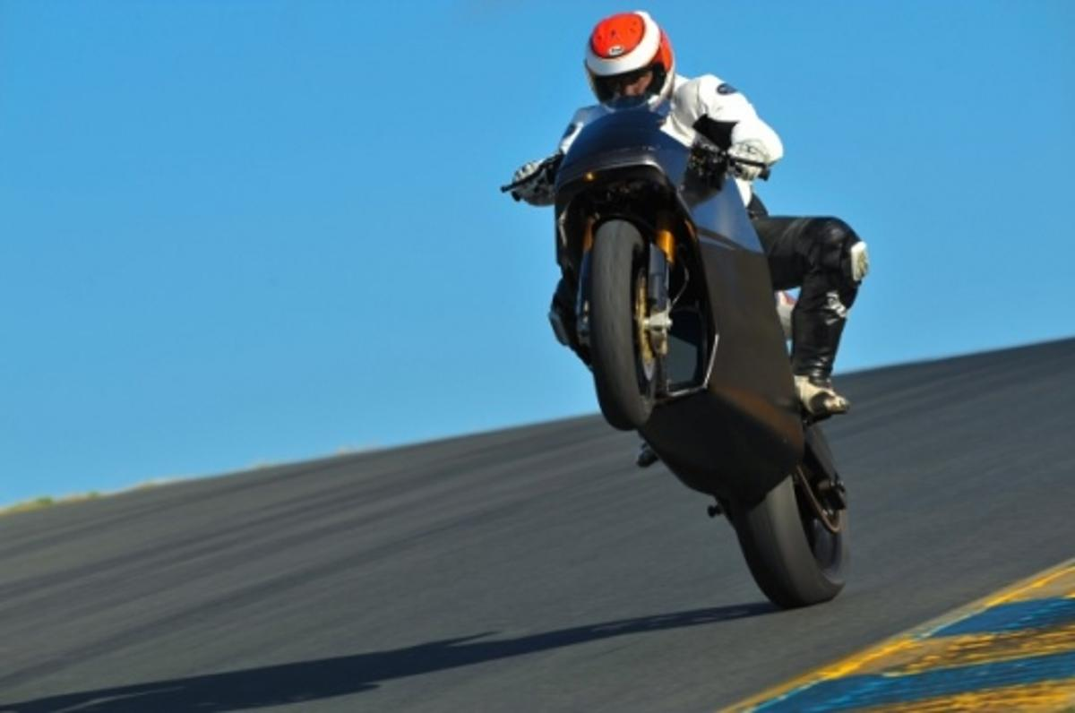 An electrifying wheelie on the Mission One electric superbike. Electrifying, get it?