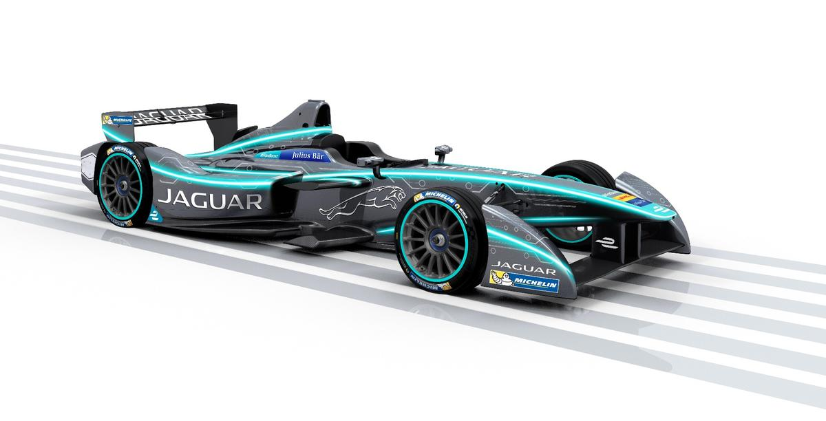 An artist's rendition of the Jaguar Formula E race car