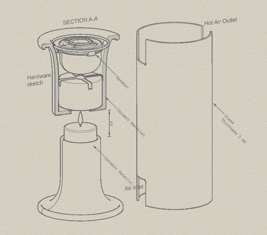 Exploded drawing of the Pelty Bluetooth speaker