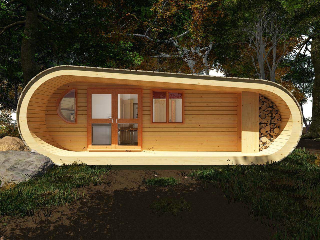 The retreat is designed to sit harmoniously within its environment, whether that be resting on the earth or perched amongst the tree tops