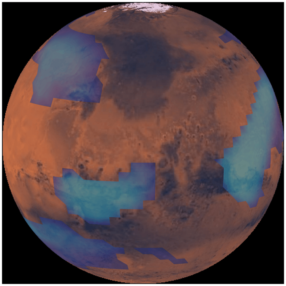 Still from a computer simulation of the Martian atmosphere displaying middle altitude clouds