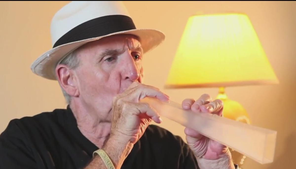 The Lung Flute creates low-frequency sound waves that break up mucus in the user's lungs