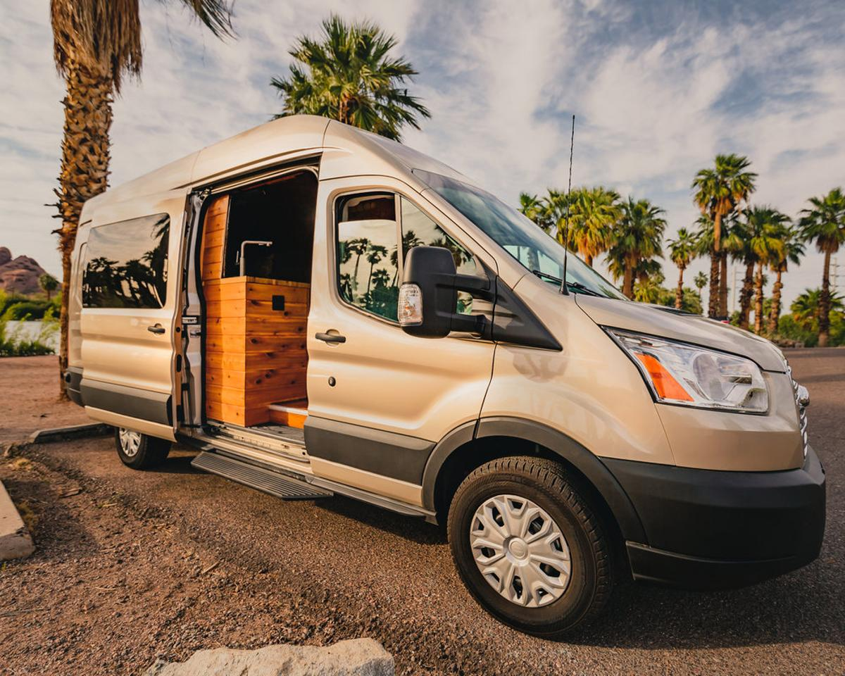 "The Boho Golden Egg is based on a ""white gold"" colored Ford Transit"