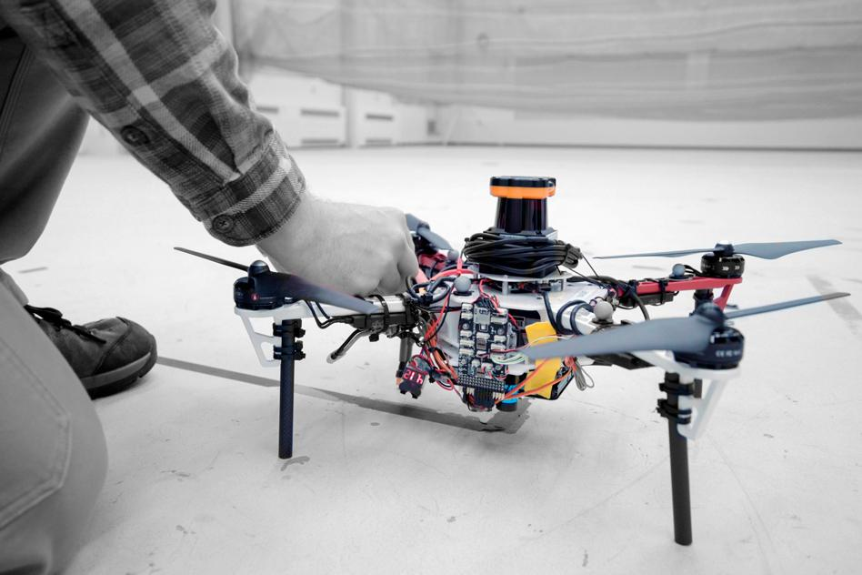 A fleet of quadrotor drones with potential for search and rescue deployment without needing to rely on GPS was tested in both forest simulations and within a wooded area at the Langley Research Center