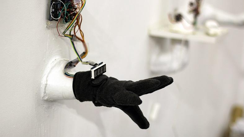 The SignLanguageGlove features a handful of sensors to convert hand and finger movements into text and spoken dialogue