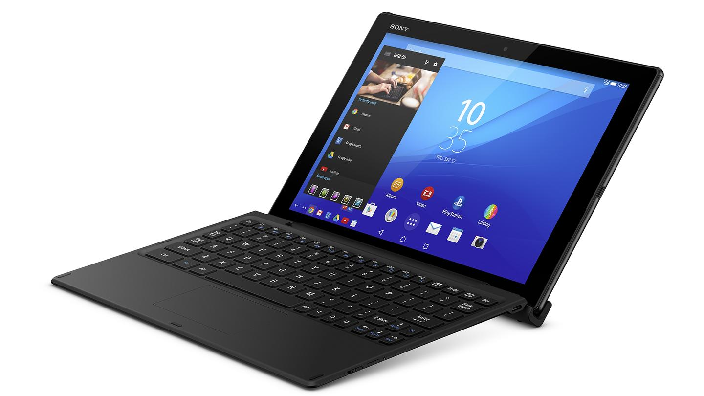 The tablet clips into Sony's BKB50 Bluetooth Keyboard, which includes a touchpad and carries its own battery