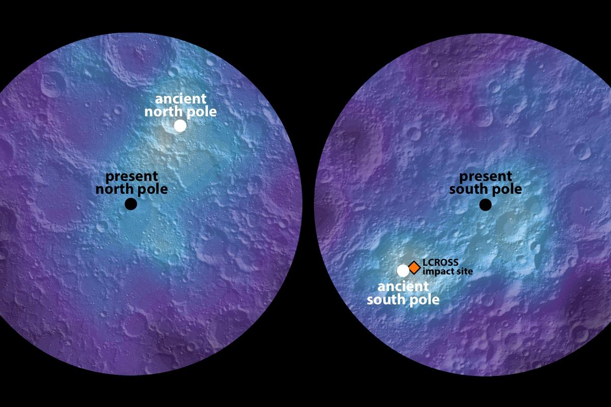 The Moon's ancient and modern day poles can be seen in this hydrogen map of the northern and southern hemispheres